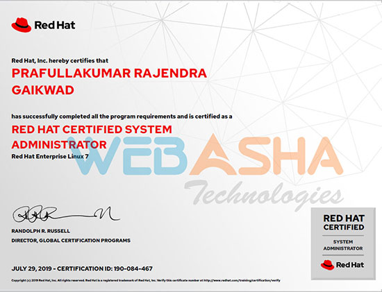 WebAsha Training Institute of RHCSA RHCE Python AWS DevOps